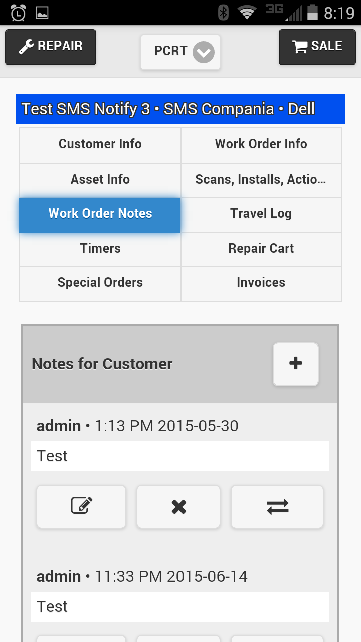 Mobile Customer Notes
